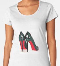 Camiseta premium de cuello ancho Me encanta Red Bottom Heels! Tacones Louboutin