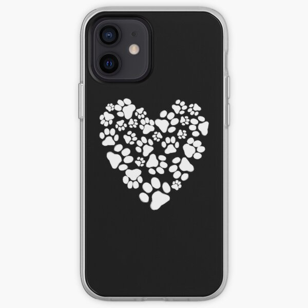 Dog Paw Prints Heart iPhone Soft Case