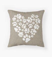 Dog Paw Prints Heart Throw Pillow
