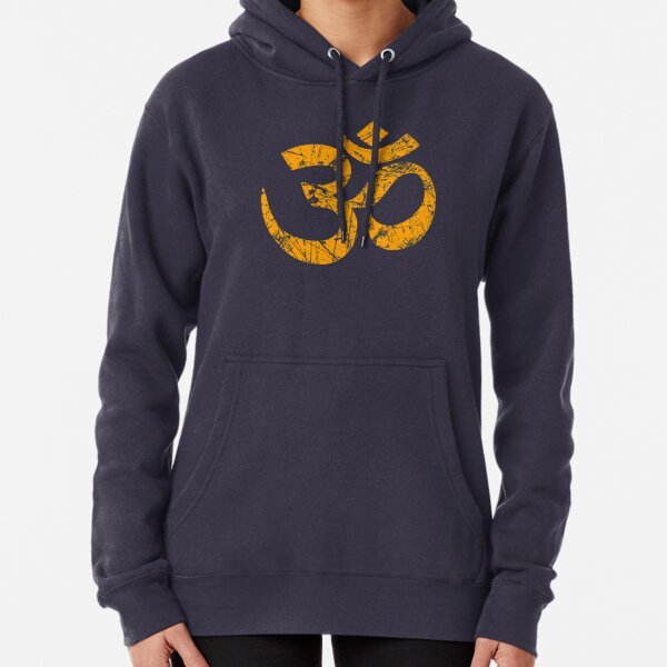 OM Yoga Spiritual Symbol in Distressed Style Pullover Hoodie