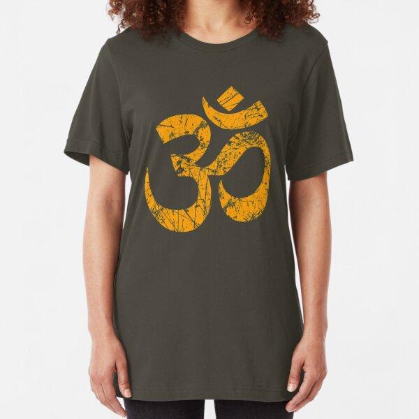 OM Yoga Spiritual Symbol in Distressed Style Slim Fit T-Shirt