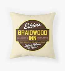 """Braidwood Inn - Wichita KS"" - Motel on ""Planes, Trains & Automobiles"" Throw Pillow"