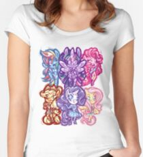 My Little Pony FiM Chibis Women's Fitted Scoop T-Shirt