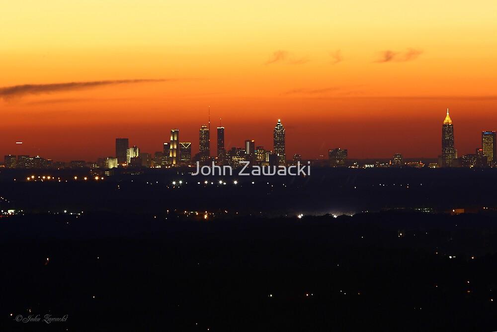 Atlanta Skyline Sunset by John Zawacki