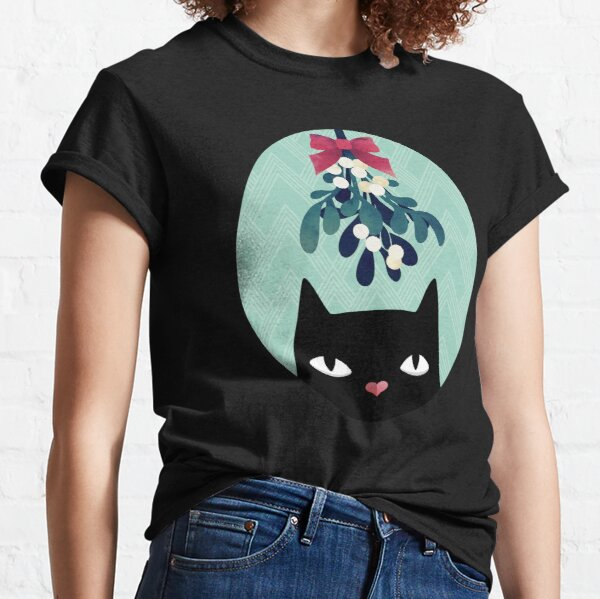 Mistletoe? (Black Cat) Classic T-Shirt