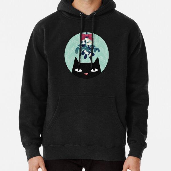 Mistletoe? (Black Cat) Pullover Hoodie