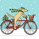 Cycling Dog and Squirrel Holiday by Jenn Inashvili