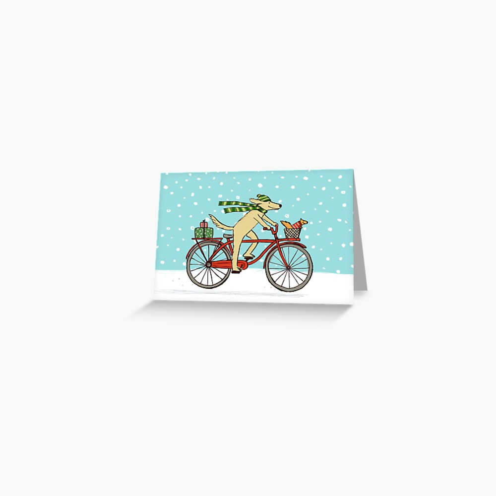 Dog Riding Bicycle with Squirrel Winter Holiday Greeting Card