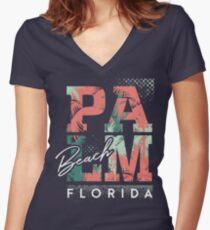 Palm Beach - Florida Tailliertes T-Shirt mit V-Ausschnitt