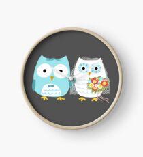 Owls Wedding Bride and Groom Clock
