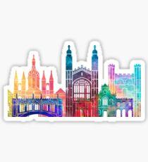 Cambridge landmarks watercolor poster Sticker