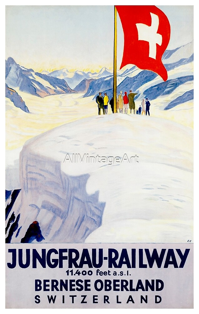 Vintage Switzerland Travel Poster by AllVintageArt