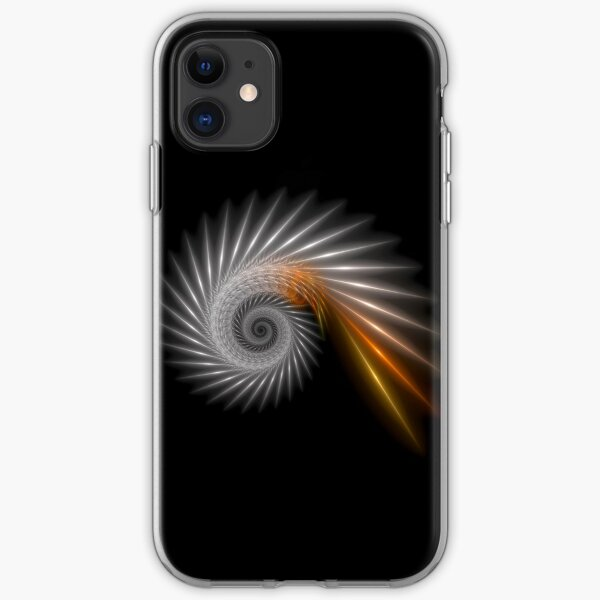 Fractal Art - Silver Spiral iPhone Soft Case