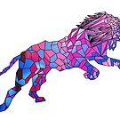 Geometric 80's Neon Lion by KineticZen