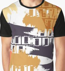 Watercolor Spots with Grunge Geometric Stripes. Graphic T-Shirt