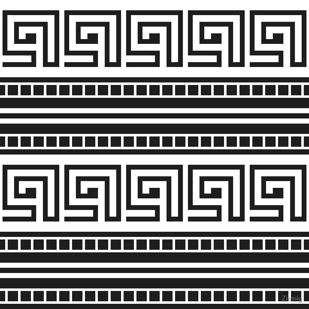 Greek Meander Ornament. Black and White Striped Pattern. by Zimniy