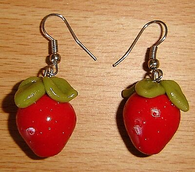 Strawberry Earrings by ScarletDragnfly