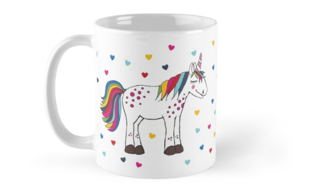 Unicorn and Love Hearts Mug. Show someone how much you really love them.