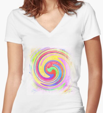 A white bowl filled with lots of colorful flowers Fitted V-Neck T-Shirt