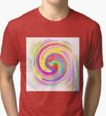 A white bowl filled with lots of colorful flowers Tri-blend T-Shirt