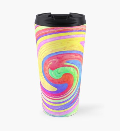 A white bowl filled with lots of colorful flowers Travel Mug