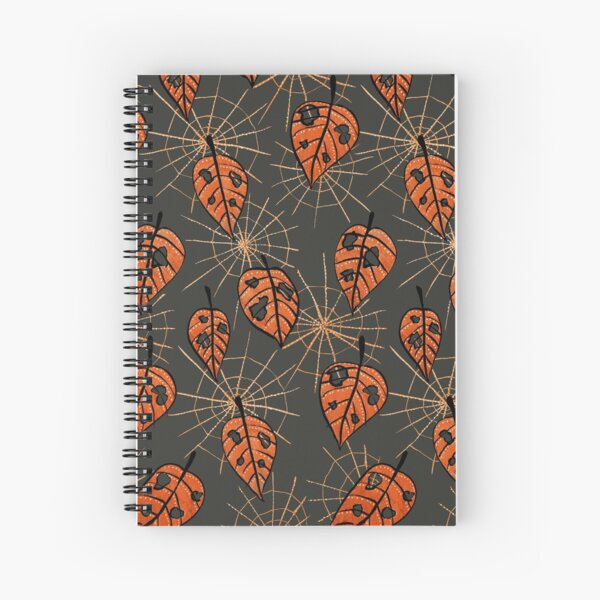 Orange Leaves With Holes And Spiderwebs Spiral Notebook