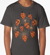 Orange Leaves With Holes And Spiderwebs Long T-Shirt