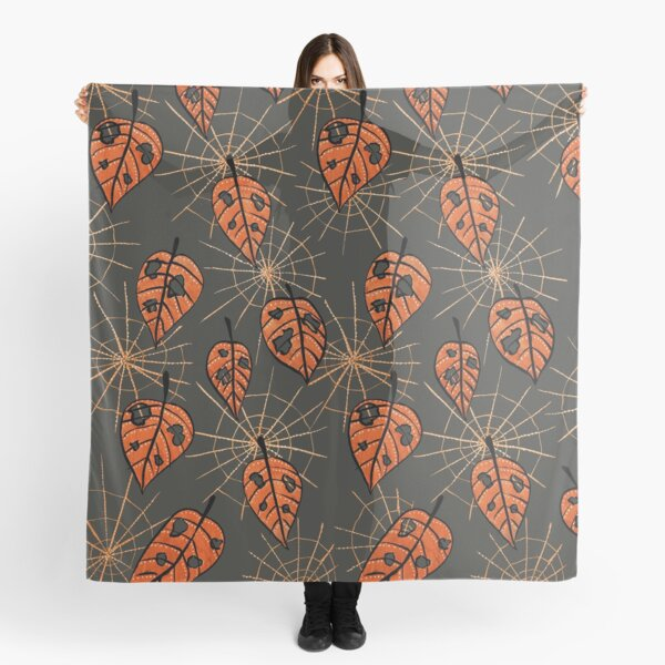 Orange Leaves With Holes And Spiderwebs Scarf