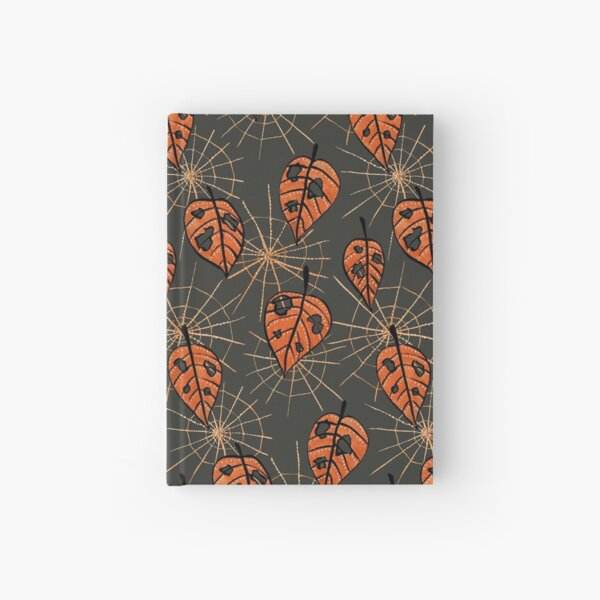 Orange Leaves With Holes And Spiderwebs Hardcover Journal