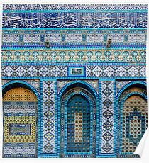 details of the wall of the dome of the rock, Jerusalem, Israel Poster