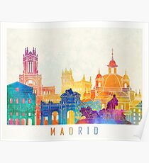 Madrid landmarks watercolor poster Poster
