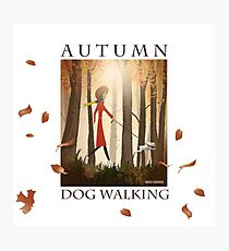 Autumn Dog Walking Photographic Print