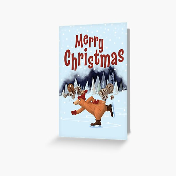 The Christmas Bear Loves Ice Skating Greeting Card