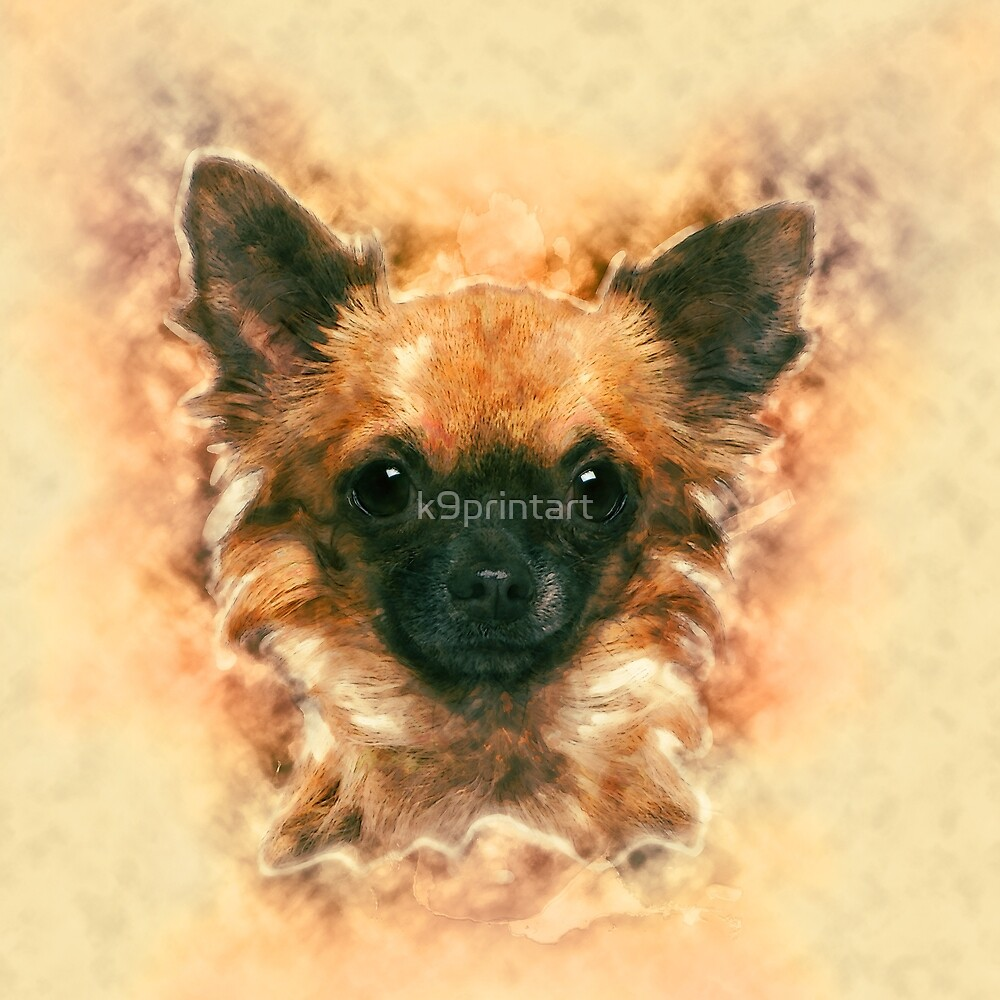 Watercolor art Chihuahua Painting by k9printart