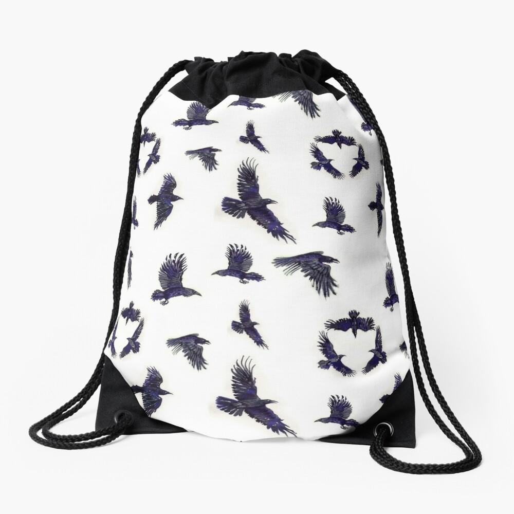 flock of ravens Drawstring Bag