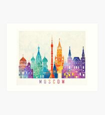 Moscow landmarks watercolor poster Art Print