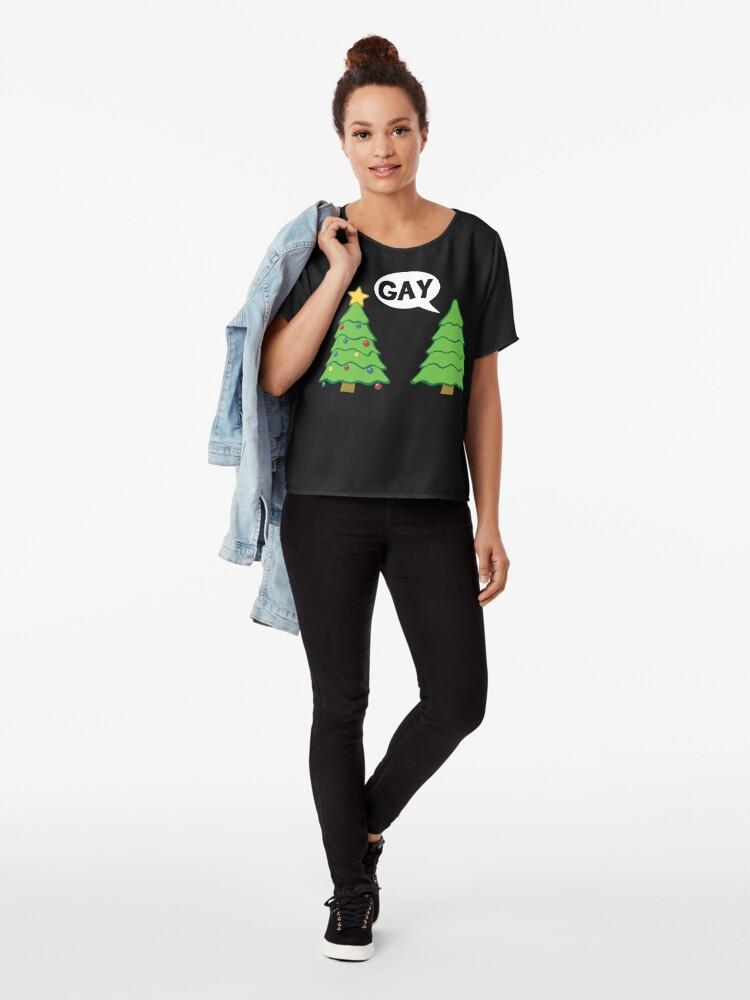 Alternate view of Gay Christmas Tree Funny Xmas Holiday Chiffon Top