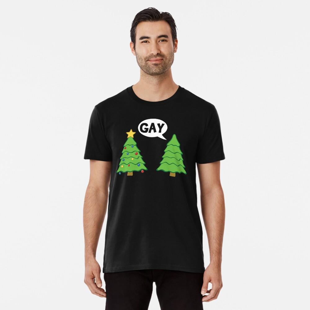 Gay Christmas Tree Funny Xmas Holiday Premium T-Shirt
