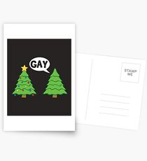 Gay Christmas Tree Funny Xmas Holiday Postcards