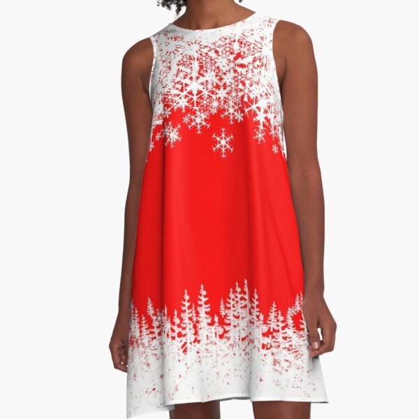 Christmas holiday Santa snowflakes A-Line Dress