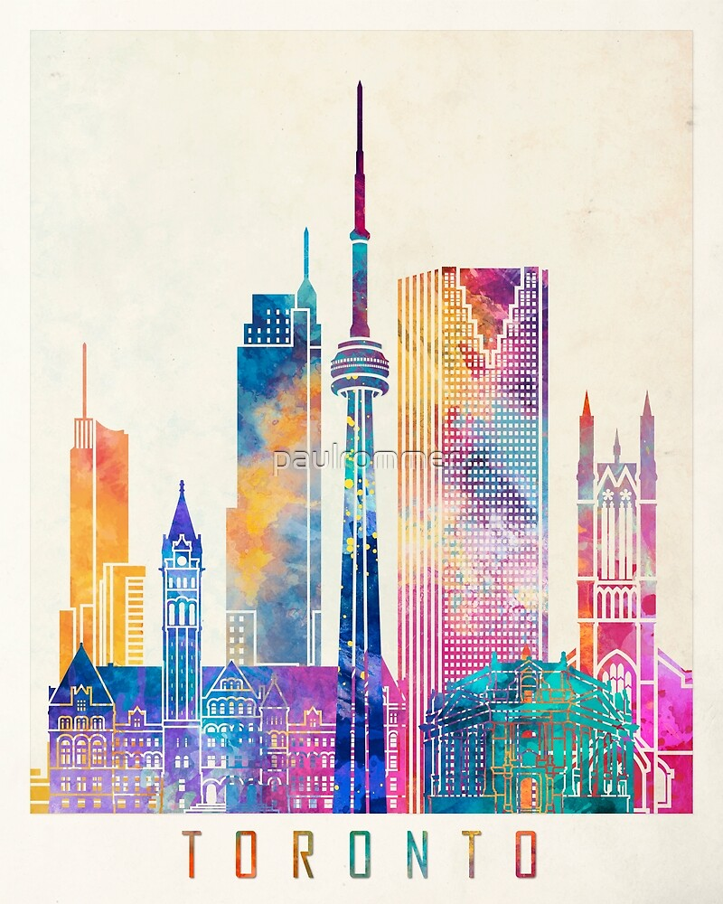 Toronto landmarks watercolor poster by paulrommer