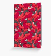 Purrrfect Pattern (Red) Greeting Card