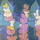 Dark blue leafy print by LucyBrydonArt