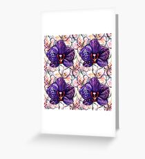 Watercolor Floral Orchid Alstroemeria Seamless Pattern Texture Greeting Card