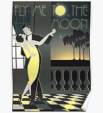 FLY ME TO THE MOON; Vintage Dance Print Poster