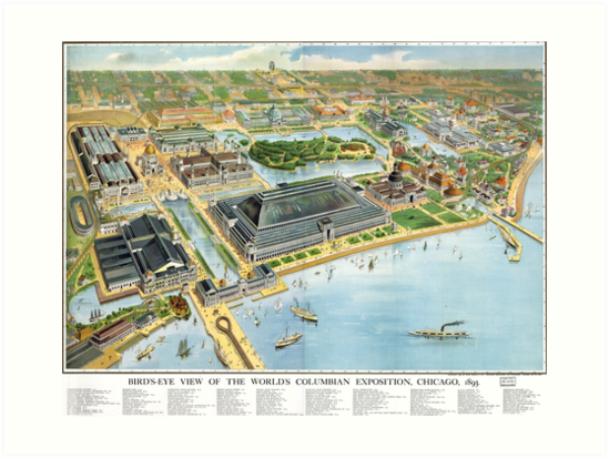 1893 Map of Chicago World's Fair by Mingjai