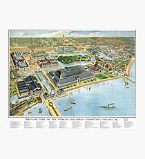 1893 Map of Chicago World's Fair Photographic Print