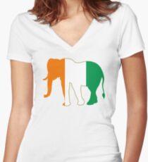 Flag Elephant of Ivory Coast Women's Fitted V-Neck T-Shirt