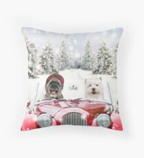 Two dogs driving a car in winter Throw Pillow