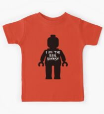 """Black Minifig with """"I am the Real Banksy"""" slogan by Customize My Minifig Kids Tee"""